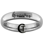 4mm Dome Tungsten Carbide  Zelda Ocarina Requiem of Spirit Design Ring.