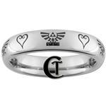 4mm Domed Tungsten Legend of Zelda Skyward Sword  Kingdom Hearts Design Ring.