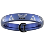 4mm Blue Dome Tungsten Carbide  Legend of Zelda Design.