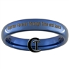 4mm Blue Dome Tungsten Carbide  Doctor Who Design With Custom Quote On Back Design.