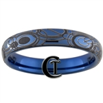 4mm Blue Dome Tungsten Carbide Doctor Who Gallifreyan Design.