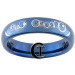 4mm Blue Dome Tungsten Carbide Doctor Who Gallifreyan- His Beauty Design Ring.