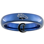 4mm Blue Dome Tungsten Carbide  Denver Broncos Design Ring.