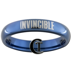 4mm Blue Dome Tungsten Invincible Iron Man Ring.