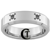 6mm Beveled Tungsten Carbide Multiple Skull and Crossbones Design Ring.