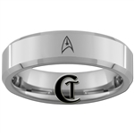 6mm Beveled Tungsten Carbide Star Trek Starfleet Design Ring.