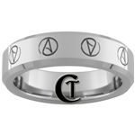 6mm Beveled Tungsten Carbide Multiple Atheist Symbols Design Ring.