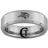 6mm Beveled Tungsten Carbide Legend of Zelda Link Wolf Design Ring.
