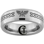 6mm Beveled Tungsten Carbide Zelda Skyward Sword Triforce Design