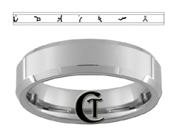 6mm Beveled Tungsten Carbide Stargate Gate Address Design Ring.