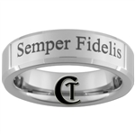 6mm Beveled Tungsten Marines Semper Fidelis Design Ring.