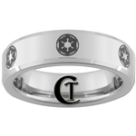 6mm Beveled Tungsten Carbide  Star Wars Galactic Empire Design.