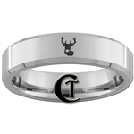 6mm Beveled Tungsten Carbide Buck Hunting Design Ring.