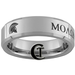 "6mm Beveled Tungsten Carbide Military Molon Labe- ""Come and Take Them"" design."