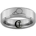 6mm Beveled Tungsten Missing Piece Ring Design.
