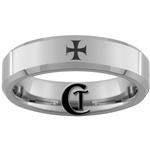 6mm Beveled Tungsten Carbide Maltese Cross Design Ring.