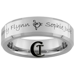 6mm Beveled Tungsten Music Heart & Names Design Ring.