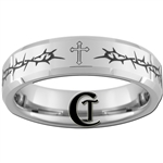 6mm Beveled Tungsten Carbide Crown of Thorns Cross Design