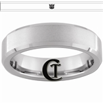 6mm Beveled Tungsten Transformers Decepticon Ring.