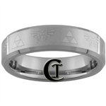6mm Beveled Tungsten Carbide With Satin Finish Zelda Design