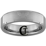 6mm Beveled Tungsten Carbide Satin Finish Zelda & Jedi Design