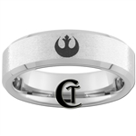 6mm Beveled Tungsten Carbide Stone Finish Star Wars Rebel Alliance Design