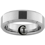 6mm Beveled Tungsten Carbide Stone Finish with a Black Lasered Design.