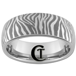 6mm Dome Tungsten Carbide Zebra Design Ring.
