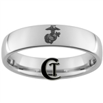 6mm Dome Tungsten Carbide MARINES Eagle Globe and Anchor Symbol Design Ring.