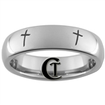 6mm Dome Tungsten Carbide Multiple Christian Cross Design.
