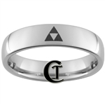 6mm Dome Tungsten Legend of Zelda Triforce Designed Polished Ring.