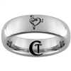 6mm Dome Tungsten Carbide Heart Music Design Ring.