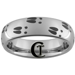 6mm Dome Tungsten Carbide Deer Tracks Hunting Design Ring.