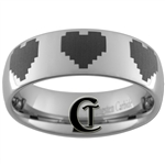 6mm Dome Tungsten Carbide Zelda 8-Bit Heart Design