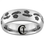 6mm Dome Tungsten Carbide Foot & Paw Print Design