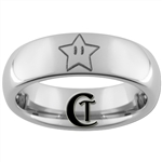 6mm Dome Tungsten Carbide Black Mario Star Design