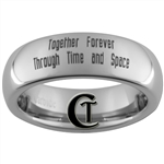 6mm Dome Tungsten Carbide Doctor Who Gallifreyan and Quote Design Ring.