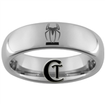 6mm Dome Tungsten Carbide  Spiderman Design.
