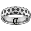 6mm Dome Tungsten Carbide Soccer Ball Design Ring.