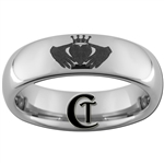 6mm Dome Tungsten Carbide Claddagh Design
