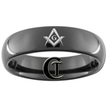 6mm Black Dome Tungsten Carbide Masonic Design