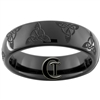 6mm Black Dome Tungsten Carbide Celtic Triangle Design Ring.