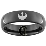 6mm Black Dome Tungsten Carbide Star Wars Rebel Alliance Design