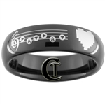 6mm Black Dome Tungsten Carbide Zelda Song of Time & 8-Bit Heart Design