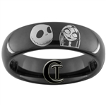 6mm Black Dome Tungsten Carbide Nightmare Before Christmas Jack and Sally Simply Meant To Be Design