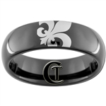 6mm Black Dome Tungsten Carbide Fleur De Lis Design