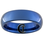6mm Blue Dome Tungsten Carbide All-Polished Ring.