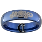 6mm Dome Blue Tungsten Carbide Doctor Who Gallifreyan Name of the Doctor Design Ring.