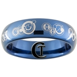6mm Dome Blue Tungsten Carbide Doctor Who Gallifreyan- The Doctor and His Companion Design Ring.