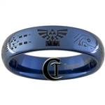 6mm Dome Blue Tungsten Carbide Zelda Hyrule Crest Circuit Board Design Ring.
